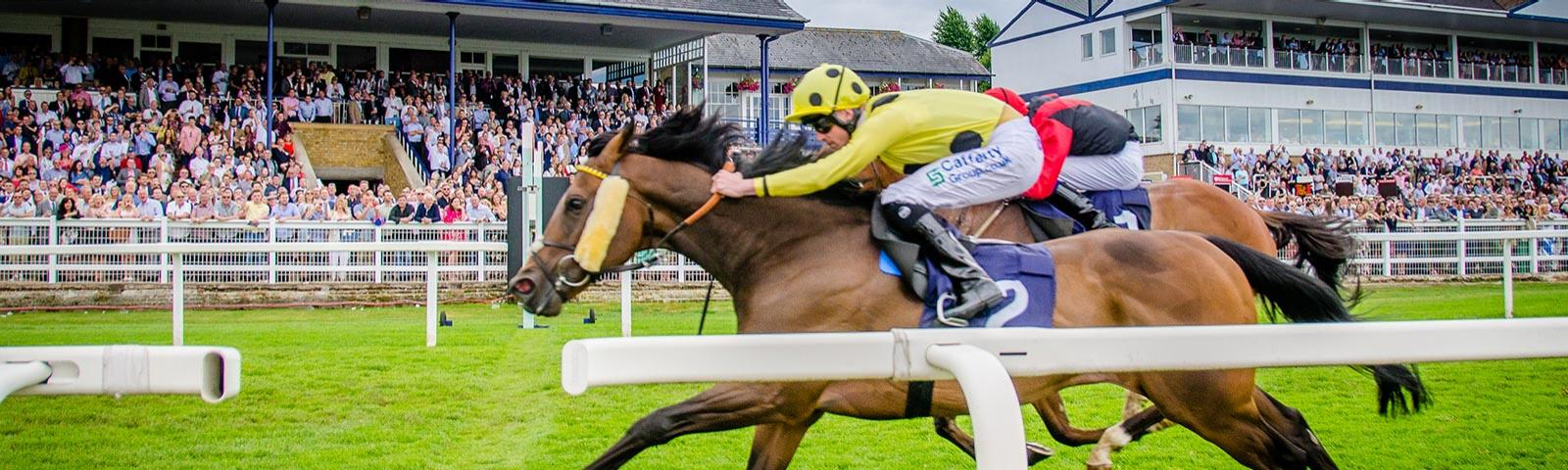 Horses racing with large Windsor Racecourse crowds behind