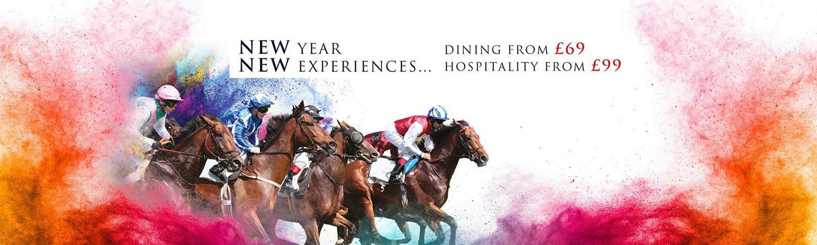 Promotional banner for hospitality packages, featuring a group of racing jockeys.